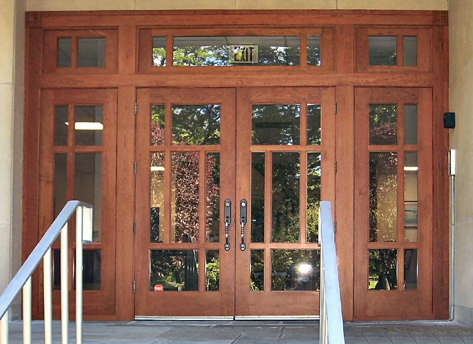 Craftsman style church entry in cherry wood