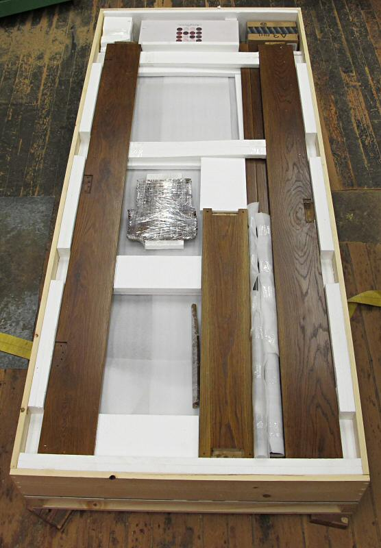 white oak door packed in shipping crate