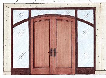 arched mesquite entry - click here