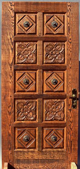 Carved rustic fir door wgh woodworking
