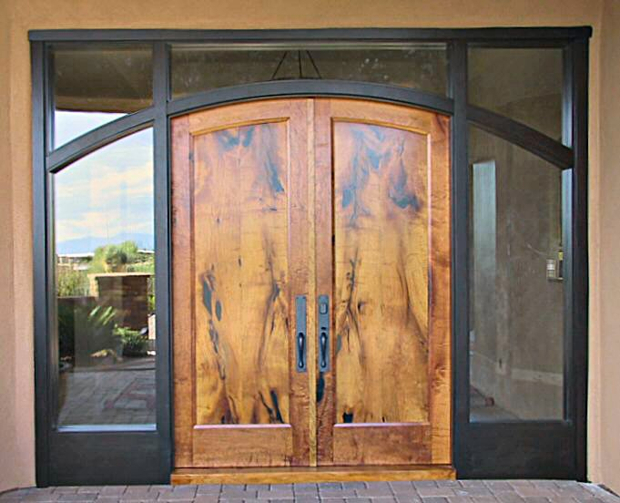 Mesquite double doors in ebony jamb