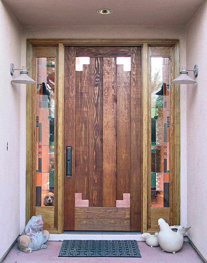 rustic door with copper accent corner s